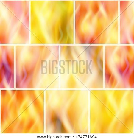 Fire Seamless Background, Solid Wall of Blazing Red, Orange and Yellow Flames. Tile Pattern for Your Design, Split into Separate Parts of Various Colors. Eps10, Contains Transparencies. Vector