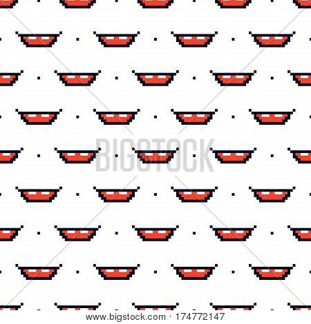 Pixel smile, mouth, grin and dots seamless pattern background.
