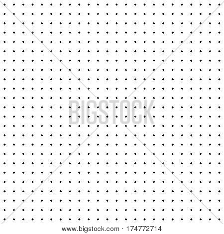 Vector seamless texture. Simple minimalist monochrome pattern. Modern stylish texture with small rounded geometric figures. Black & white illustration of perforated surface. Design for prints, decoration, texture