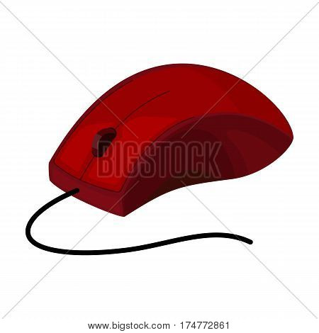 Computer mouse icon in cartoon design isolated on white background. Personal computer accessories symbol stock vector illustration.