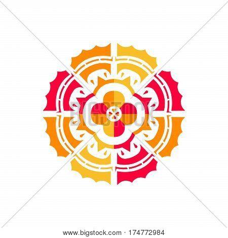 Isolated flower ornament sign. Sun flower flat design. Floral bright medallion emblem