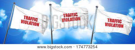 traffic violation, 3D rendering, triple flags
