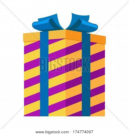 Gift box isolated vector illustration. Striped present for festival in yellow and purple colors with big blue bow. Pyrotechnic device as present inside for holiday celebrations, entertainment purposes