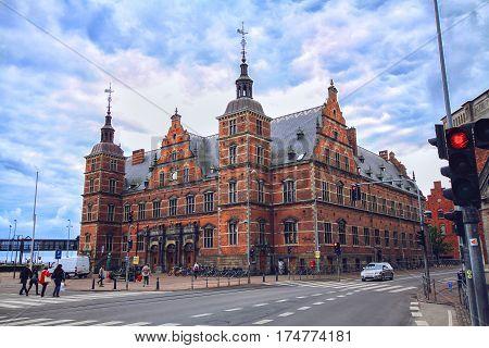 HELSINGOR DENMARK 14 JUNE: Train station of Helsingor in Denmark Europe in 2012