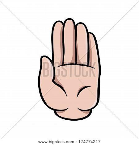 Human cartoon hand showing a stop sign