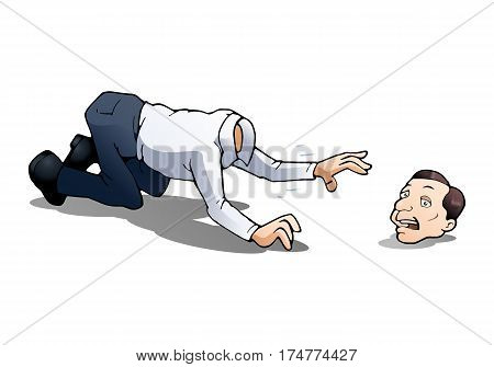 illustration of an adult man afraid lose his head on isolated white background