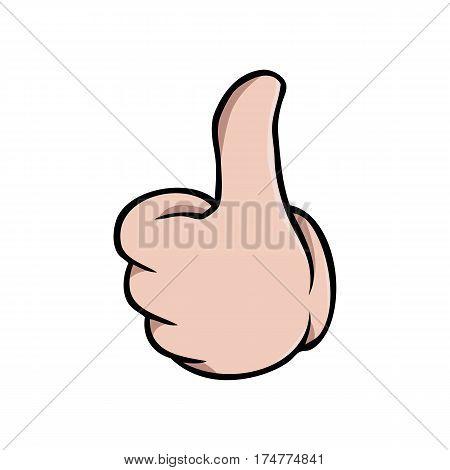 Human cartoon hand showing a thumbs up gesture