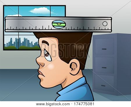 illustration of an adult man keeps a level head in office room background