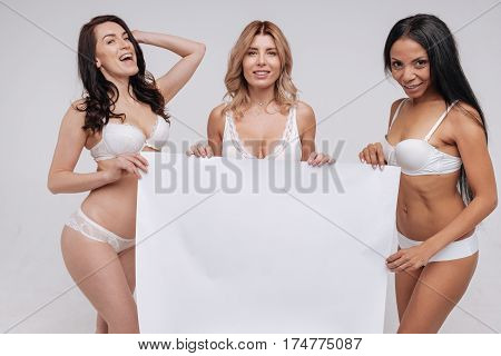 Join our side. Sexy fun graceful women uniting for promoting different body types and working on social natural beauty campaign