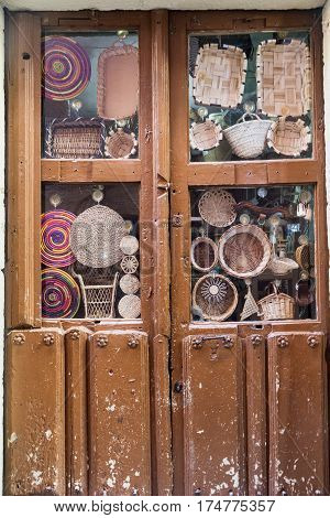Leon (Castilla y Leon Spain): wicker objects in a shop window