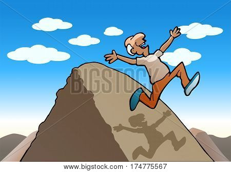 illustration of a successful running old man over the hill on nature background