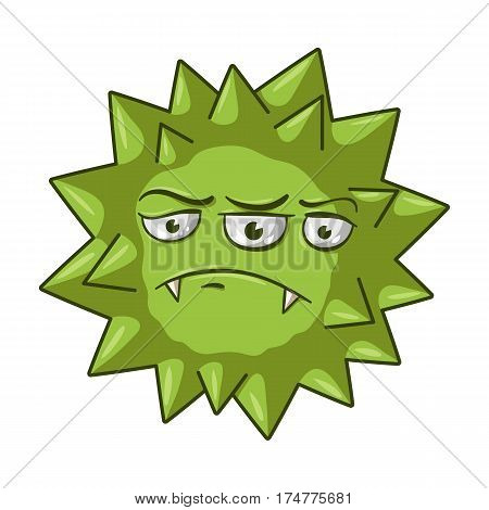 Green virus icon in cartoon design isolated on white background. Viruses and bacteries symbol stock vector illustration.