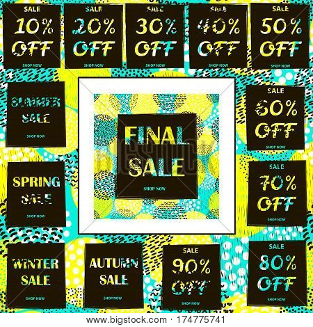 Big sale set on the Creative circles background - 80's - 90's years design style