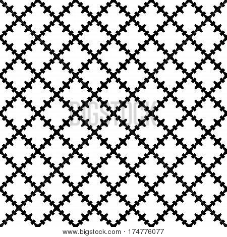 Vector monochrome seamless pattern. Abstract black & white texture with curved geometric shapes, barbed figures. Repeat tiles. Endless ornamental background, gothic style. Design for prints, textile, digital, web