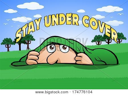 illustration of a man stay under cover playing hide and seek game on nature background