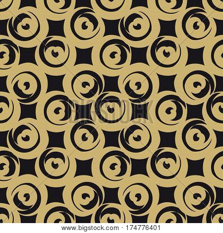 Seamless Pattern from Golden Circle Shaped Hearts on Black Background. Hand drawn abstract pattern. May used for Paper Print, Fabric Print, Web Usage. Vector illustration