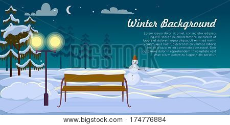 Small snowman with hat and wooden bench are on winter background in dark, cold night. Snow on green fir trees and ground. Sky with clouds, moon and stars vector illustration of forest landscape.