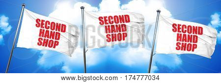 second hand shop, 3D rendering, triple flags