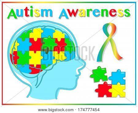 Autism disease awareness child vector graphic elements