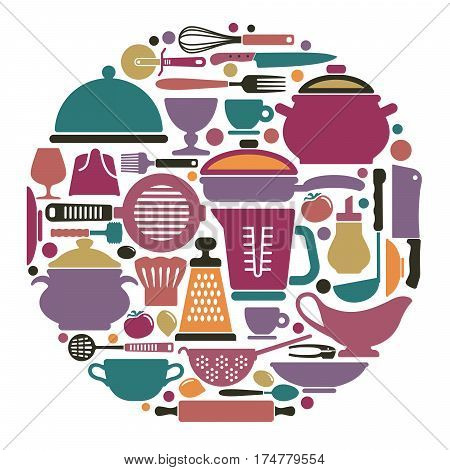 Silhouettes of kitchen ware and cooking utensils in the shape of a circle
