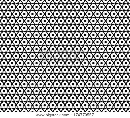 Vector monochrome seamless pattern. Simple modern geometric texture with small hexagons. Hexagonal grid, lattice. Repeat black & white abstract background. Design for print, decor, wrapping, cover, textile, fabric