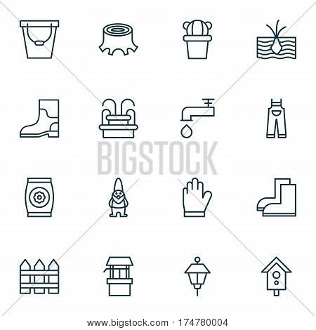Set Of 16 Agriculture Icons. Includes Water Source, Protection Mitt, Spigot And Other Symbols. Beautiful Design Elements.