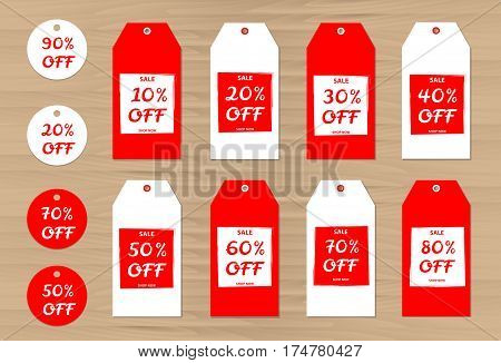 Sale tags set - red and white