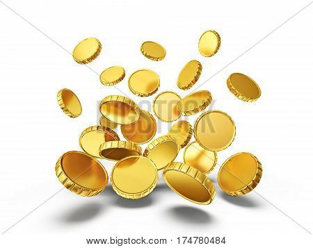 golden coins isolated on a white background 3d illustration