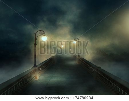 Urban landscape with a illuminated bridge in the fog. 3D rendering