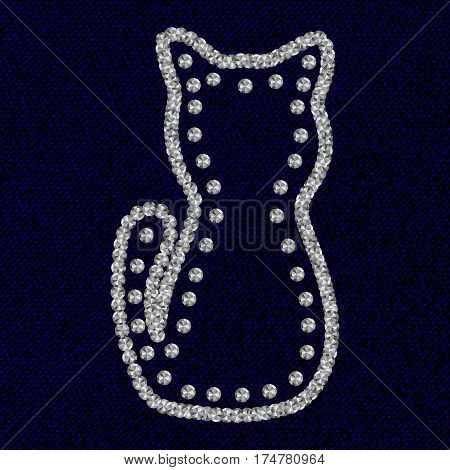 Silhouette of cat with Rhinestones diamonds on the dark blue coton texture. Vector illustration.
