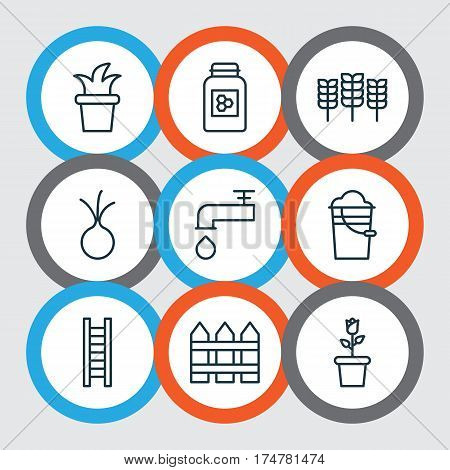 Set Of 9 Holticulture Icons. Includes Stairway, Spigot, Garlic And Other Symbols. Beautiful Design Elements.