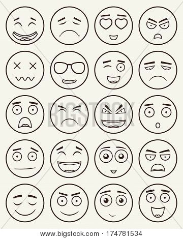 Set of outline emoticons, emoji isolated on white background. Emoticon for web site, chat, sms. Vector.