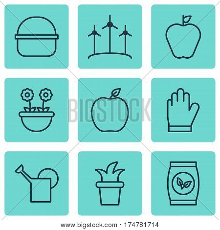 Set Of 9 Garden Icons. Includes Protection Mitt, Windmill, Bailer And Other Symbols. Beautiful Design Elements.