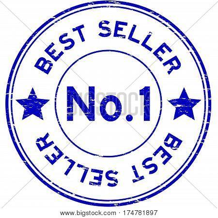 Grunge blue no. 1 best seller round rubber stamp on white background