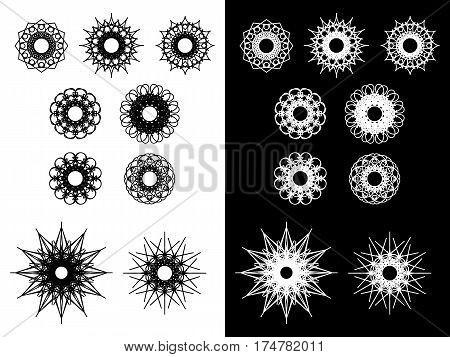 Set of round spirograph symbols. Outline kaleidoscope icons flowers stars and snowflakes. Decorative web design elements isolated on white and black background. Can be used as anti stress adult coloring book pages. Vector