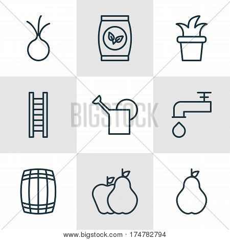 Set Of 9 Holticulture Icons. Includes Spigot, Garlic, Duchess And Other Symbols. Beautiful Design Elements.