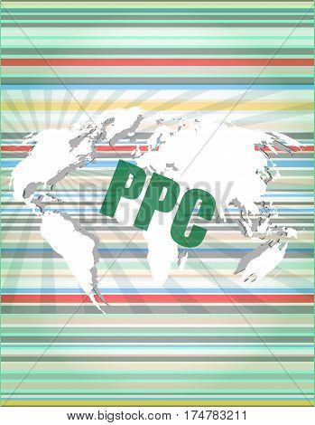 Ppc Words On Digital Touch Screen Interface