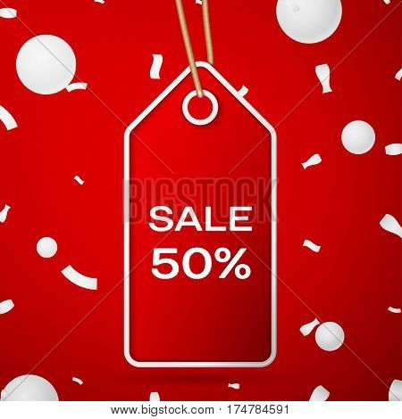 Red pennant with an inscription Big Sale fifty percent Discounts over a red background and confetti. Sale concept for shops store market, web and other commerce. Vector illustration