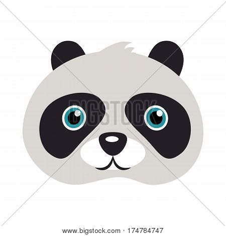 Panda animal carnival mask vector illustration in flat style. Bear with black patches round eyes. Funny childish masquerade mask isolated. New Year masque for festivals, holiday dress code for kids
