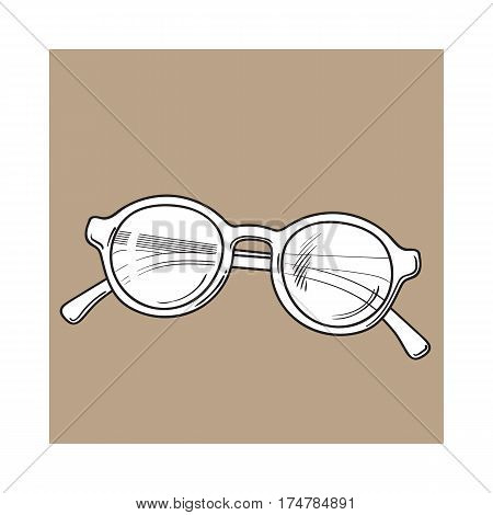 Fashionable round sunglasses in plastic frame, summer vacation attribute, sketch vector illustration isolated on brown background. Hand drawn round glamorous sunglasses, symbol of summer vacation