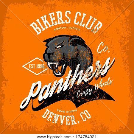 Vintage American furious panther bikers club tee print vector design isolated on orange background.  Colorado, Denver street wear t-shirt emblem. Premium quality wild animal superior logo concept illustration.