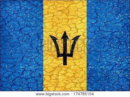 Barbados Grunge Style National Flag