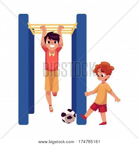 Two boys playing football and hanging on monkey bar at playground, cartoon vector illustration isolated on white background. Boy friends playing, having fun at the playground, summer activity concept