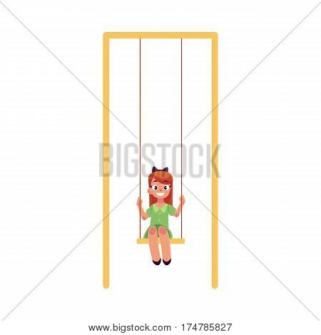 Teenage Caucasian girl in green dress sitting on a swing at the playground, cartoon vector illustration isolated on white background. Girl swinging on a swing, having fun at the playground