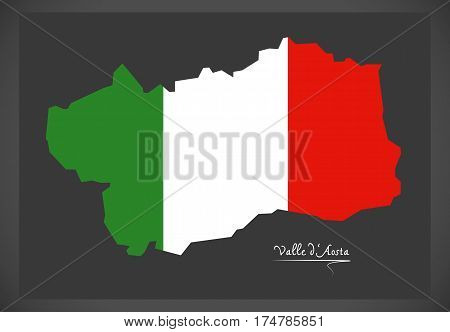 Valle D'aosta Map With Italian National Flag Illustration