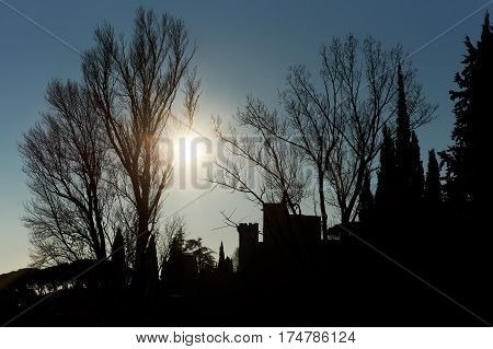 Silhouette of a trees houses and Renaissance castle of Lourmarin village. Provence-Alpes-Cote d'Azur. France