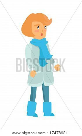 Surprised girl in warm winter clothes isolated on white in cartoon style. Vector icon of female small kid with red short hair in blue scarf and boots, light sheepskin coat and jeans with weird look