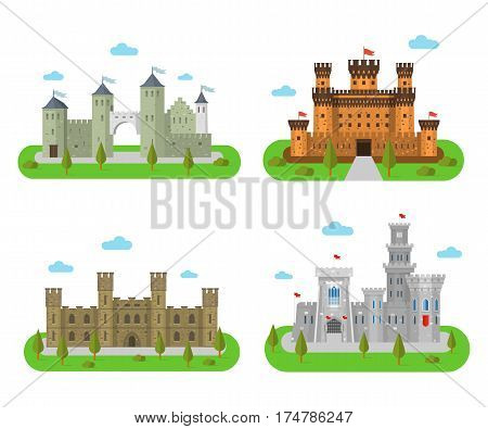 Medieval castles and fortresses in a flat style. Icons of the royal forts and bastions. Fairy tale or fantasy palaces and kingdoms.