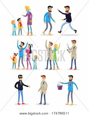 People celebrating New Year on white. Vector illustration of woman teaching children, fighting men, people looking at sky, person reading instruction, man carrying bucket with water in cartoon style