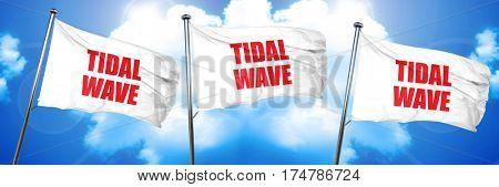tidal wave, 3D rendering, triple flags